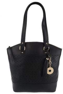 Isaac Mizrahi Live! Bridgehampton Leather Floral Cutout Tote
