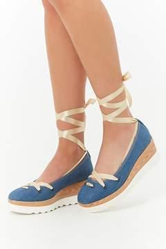 Forever 21 Lace-Up Denim Platform Shoes