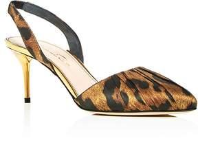 Oscar de la Renta Pamie Leopard Print Slingback Pumps