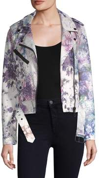 Bagatelle Women's Floral Biker Jacket