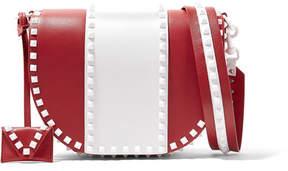 Valentino Garavani The Rockstud Two-tone Leather Shoulder Bag - Red
