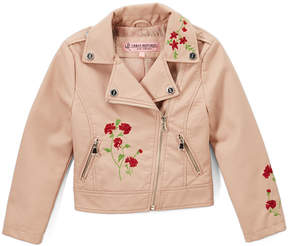 Urban Republic Rose Smoke Embroidered Faux Leather Moto Jacket - Toddler & Girls