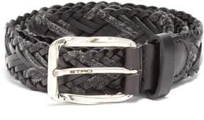 Etro Woven melange-knit and leather belt