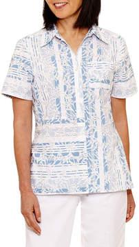 Alfred Dunner Blue Lagoon Short Sleeve Button-Front Shirt