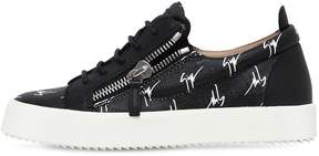 Giuseppe Zanotti Design 20mm Logo Zip-Up Faux Leather Sneakers