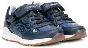 Geox snakeskin effect touch strap sneakers