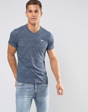 Hollister V-Neck T-Shirt Slim Fit Icon Logo in Navy Marl