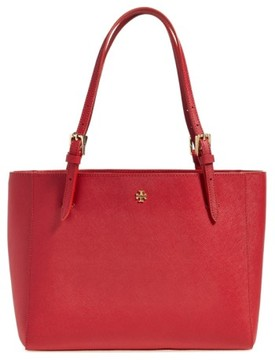 Tory Burch 'Small York' Saffiano Leather Buckle Tote - Red - BEIGE - STYLE