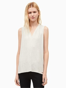 Calvin Klein Heathered V-Neck Sleeveless Top