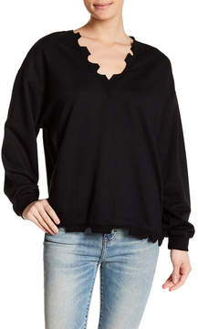 Lush Distressed V-Neck Sweater