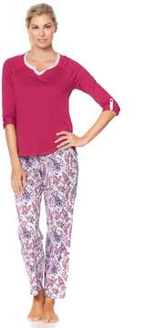 Karen Neuburger KN Cool by Paisley Park 3/4-Sleeve Top and Pajama Pant Set