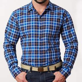 Blade + Blue Navy, Royal Blue & Orange Plaid Shirt - Karl
