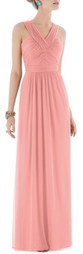 Alfred Sung Women's Shirred Chiffon V-Neck Gown