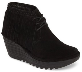 Fly London Women's Yank Fringe Wedge Bootie(Women)