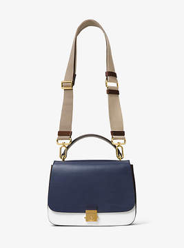 Michael Kors Mia French Calf Leather Shoulder Satchel - BLUE - STYLE