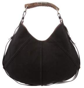 Saint Laurent Leather-Trimmed Mombasa Hobo