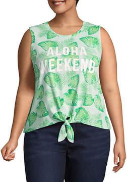 Fifth Sun Aloha Weekend Allover Palm Tank - Juniors Plu