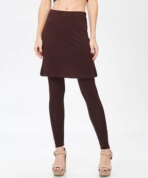 Bellino Brown Skirted Leggings - Women