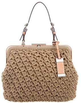 Michael Kors Leather-Trimmed Woven Bag - BROWN - STYLE