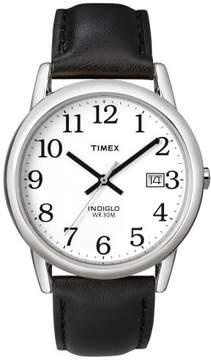 Timex Men's Easy Reader Silvertone Case Black Leather Strap Watch