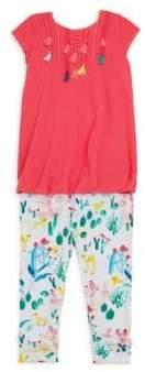 Catimini Baby's Dress& Floral-Print Leggings Set