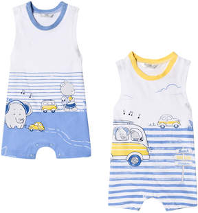 Mayoral Pack of 2 White and Blue Elephant Car Print Sleeveless Rompers