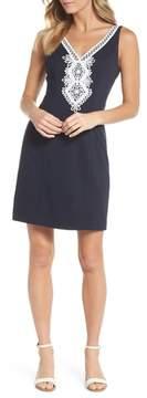 Eliza J Embroidered V-Neck Shift Dress