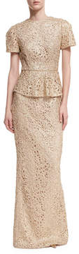 Rachel Gilbert Short-Sleeve Lace Peplum Gown