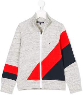 Tommy Hilfiger Junior diagonal stripe print zipped sweatshirt