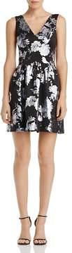 Aqua Metallic Floral Print Dress - 100% Exclusive