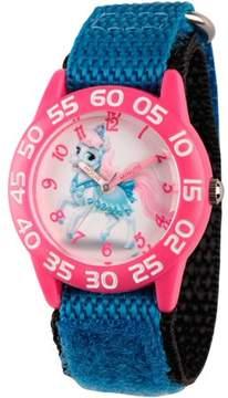 Disney Palace Pet Bibbidy Girls' Pink Plastic Time Teacher Watch, Blue Hook and Loop Nylon Strap with Black Backing
