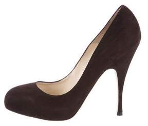 Brian Atwood Suede Round-Toe Pumps