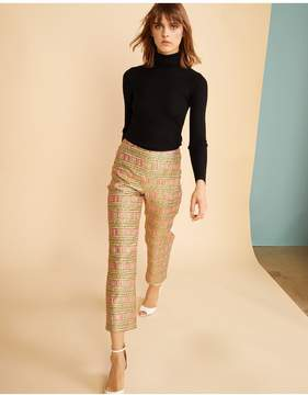 Cynthia Rowley | Bonfire Brocade Cropped Pant | Xl | Gold/coral