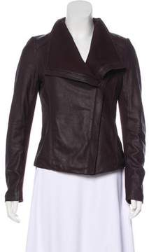 T Tahari Leather Asymmetrical Jacket