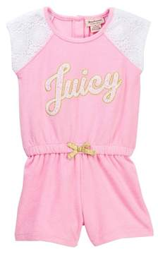 Juicy Couture Cotton Lace Sleeve Terry Romper (Toddler Girls)