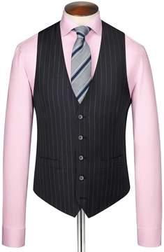 Charles Tyrwhitt Navy Stripe Adjustable Fit Twill Business Suit Wool Vest Size w36