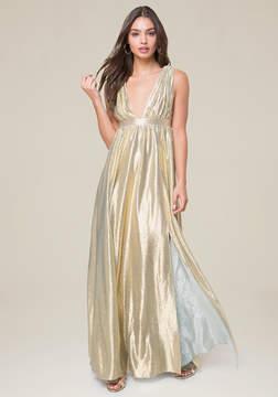 Bebe Double V-Neck Metallic Gown