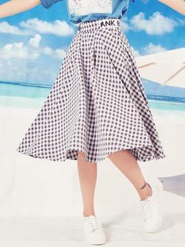 Blank Check Flared Skirt-Bk