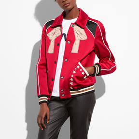 COACH EMBROIDERED VARSITY SOUVENIR JACKET - RED