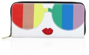 Alice + Olivia Rainbow Printed Leather Wallet