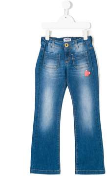 Moschino Kids heart-embroidered jeans