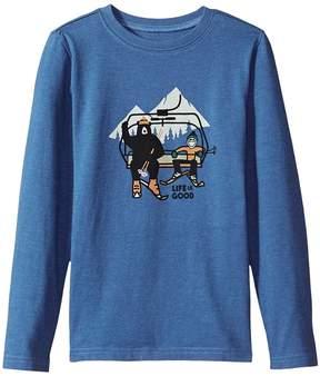 Life is Good Ski Lift Bear Long Sleeve Crusher Tee Boy's T Shirt