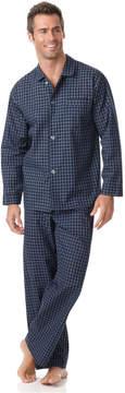 Club Room Men's Big and Tall Navy Check Shirt and Pants Pajama Set