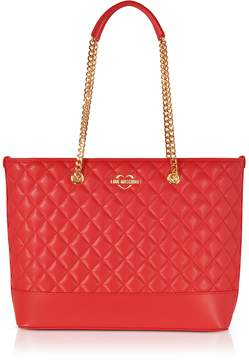 Love Moschino Red Superquilted Eco-Leather Tote Bag