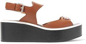 Carven Two-Tone Embellished Leather Platform Sandals
