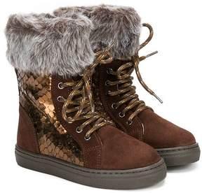 Stuart Weitzman sequined and fur trim boots