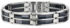 Armani Exchange Jewelry Mens Black Ceramic Bracelet In Stainless Steel.