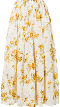 Brock Collection Sonny Floral-print Cotton-voile Midi Skirt - Pastel yellow
