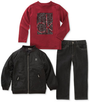 Calvin Klein 3-Pc. Graphic-Print Shirt, Pants & Bomber Jacket Set, Little Boys (4-7)