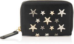 Jimmy Choo MALONE Black Leather Zip Around Wallet with Metallic Mix Stars